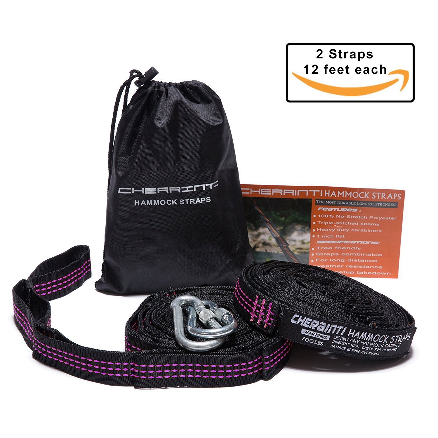 CHERAINTI Hammocks for Travel Camping Hiking (12 FEET (PURPLE))