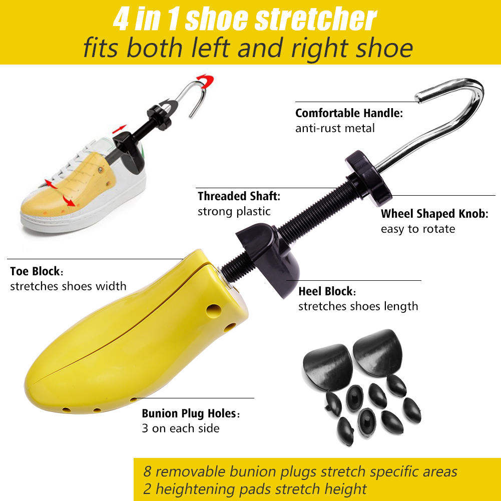 Shoe Stretcher Women Shoe Tree Widener, Pair of 4-way Adjustable Shoe Expanders Stretch Length Width Height, Tough Plastic & Metal, 8 Bunion Plugs Included, Yellow for Women's Shoes Size US 5.5-10